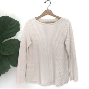 Vintage Cream Colored Ribbed Cotton Blend Sweater